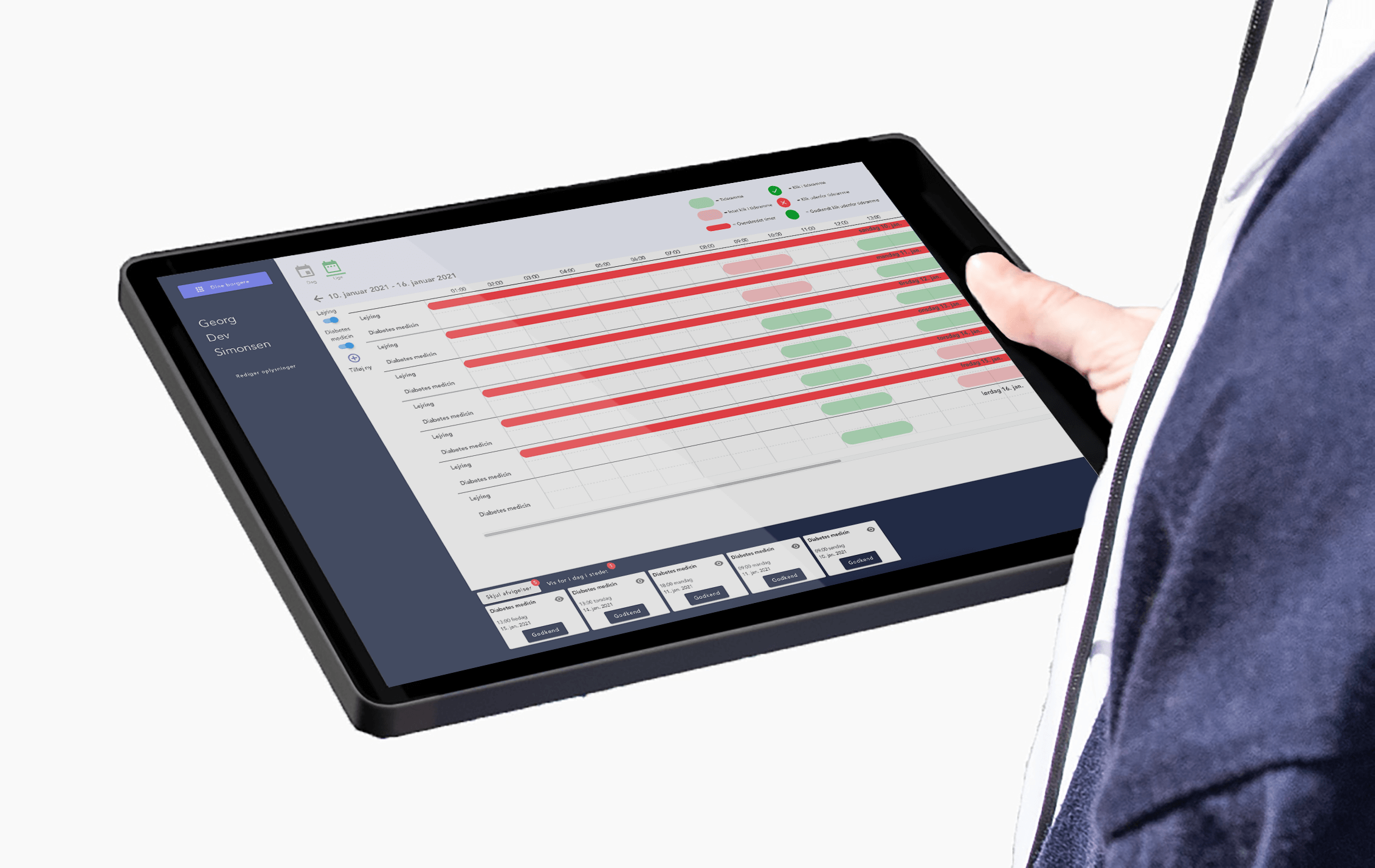 Care professional holding tablet in her hands with the Klikkit dashboard on the screen