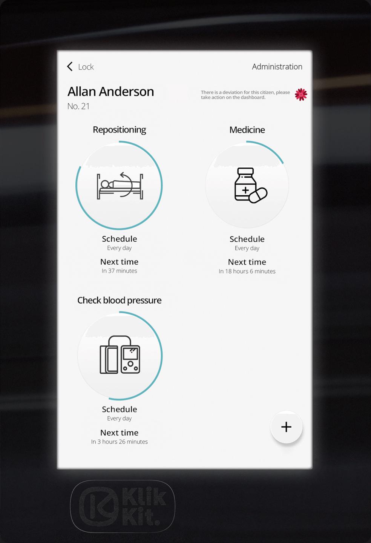 Klikkits virtuelle knap closeup på tablet